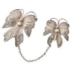 Vintage Sterling Navajo Stamped Butterfly Pin Set Brooch