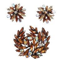 Flashy Fun Large Vintage Regency Brooch & Earrings Set