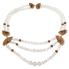 Art Deco Cut Crystal Tiered Filigree Necklace Elegant