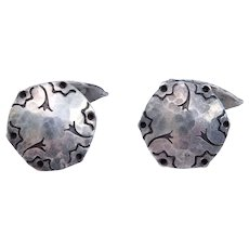 Silver Arts & Crafts Hand Hammered Cufflinks
