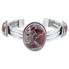 Gorgeous Southwest Large Jasper Cabochons Silver Cuff Bracelet