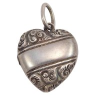 Victorian Repousse Sterling Puffy Heart Locket Charm