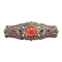Art Deco Engraved Carnelian Agate Brooch Beautiful