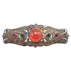 Art Deco Engraved Carnelian Agate Brooch Beautiful