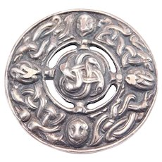 Ornate Old Silver Celtic Knot Scottish Kilt Brooch