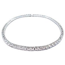 Art Deco Sterling Line Necklace Crystals Choker