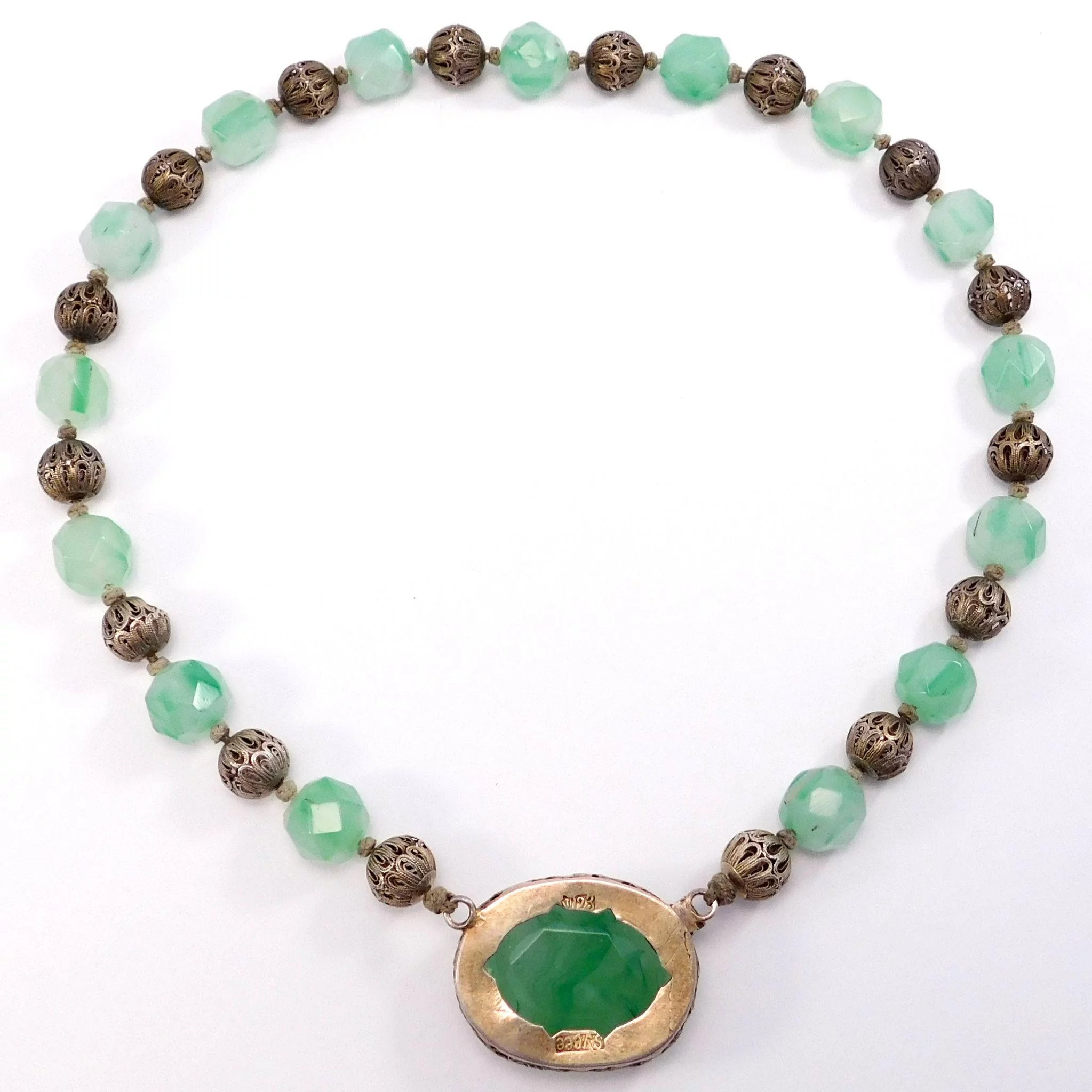 chinese green jade women bead for necklace caymancode