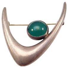 Modernist E. Dragsted Silver Denmark Chrysoprase Brooch