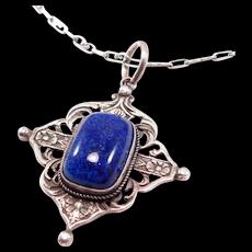 Foliate Antique 800 Silver & Art Glass Italian Necklace