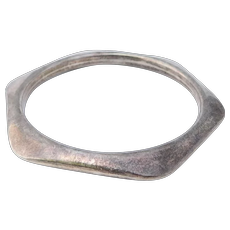 Modernist Heavy Sterling Geometric Mexican Bangle