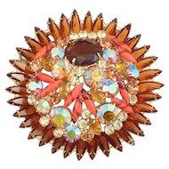 Huge Juliana D&E Rhinestone Flower Brooch