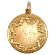 Victorian Gold Shell Ribbons Locket Lovely