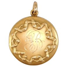 Victorian Gold Shell Ribbons Locket Lovely