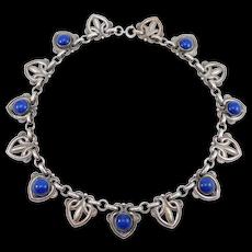 Ornate Art Deco Cobalt Venetian Glass Silver Tone Choker