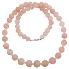 Gorgeous Deco Chinese Carved Rose Quartz Shou Beads Necklace