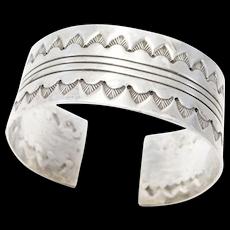 Nice Wide Sterling Southwest Stamped Cuff Bracelet