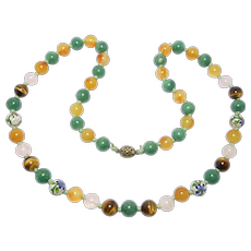 Beautiful Chinese Carnelian Agate And Quartz Beads Necklace