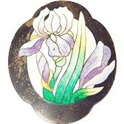 Art Nouveau Sterling Enamel Iris Brooch Large C. 1910