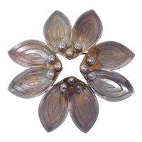 Modernist Floral Danish Silver Brooch By A&K