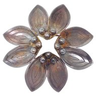 Modernist Floral Danish Silver Brooch By A&K