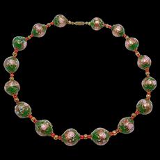 Pretty Italian Venetian Glass Green Aventurine Beads Necklace