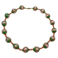 Pretty Italian Venetian Glass Green Aventurine Beads Necklace