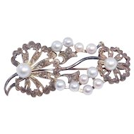 Ornate Silver & Baroque Pearl Brooch With Engraving
