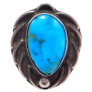Sterling Southwest Turquoise Ring Older Pawn