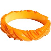 Deeply Carved Butterscotch Bakelite Bangle Bracelet