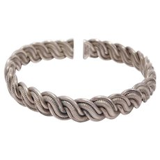 Unusual Silver Old Chinese Woven Cuff Bracelet