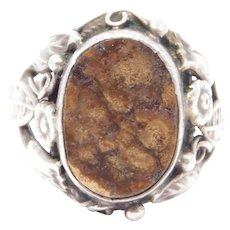 Sterling Agate Arts And Crafts Floral Ring