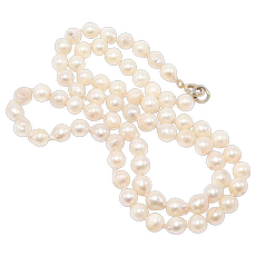 Estate Hand Knotted 8mm Baroque Cultured Pearls