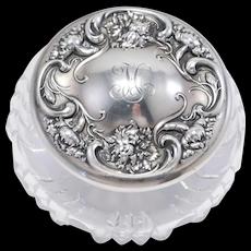 Wallace Sterling Repousse Crystal Art Nouveau Dresser Box