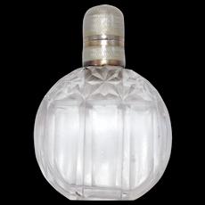 Art Deco 935 Silver Cut Crystal Enamel Topped Perfume Bottle