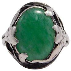 Beautiful Arts & Crafts Era Sterling & Jade Ring - Red Tag Sale Item