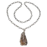 Sterling Modernist Sculptural Agate Necklace All The Rage