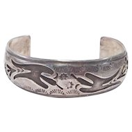 Silver Overlay Cuff Native With Thunderbirds