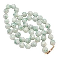 8mm Natural Jade Beads 14K Filigree Clasp Knotted