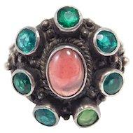 Arts & Crafts Cabochon Garnet & Silver Ring Beautiful
