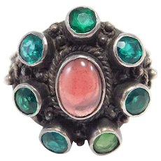 Arts & Crafts Cabochon Garnet & Silver Ring Beautiful