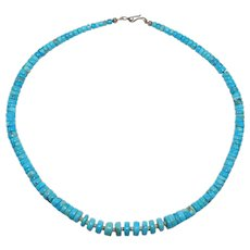 Beautiful Turquoise Heishi Necklace Older Great Color