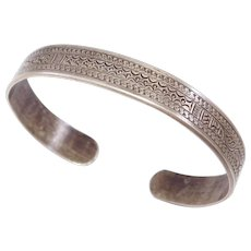 Interesting Old Ethnic Silver Engraved Cuff Bracelet