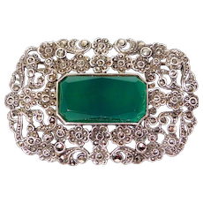 Art Deco Chrysoprase And Marcasite Oversize Brooch