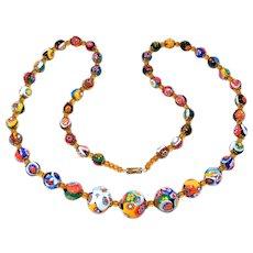 Old Italian Millefiori Glass Graduated Beads Necklace