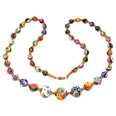 Old Italian Millefiori Glass Graduated Beads Necklace