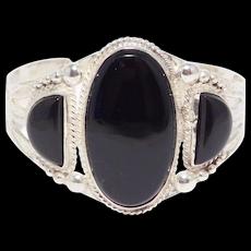 Navajo Silver And Black Onyx 3 Stone Cuff Stampwork