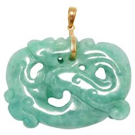 14K Carved Jade Chinese Dragon Pendant