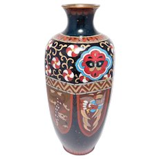 Japanese Meiji Cloisonne Enamel Vase Dragons And Phoenix