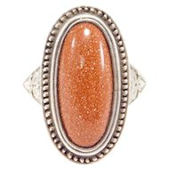 Art Deco Silver Engraved Goldstone Ring Unique