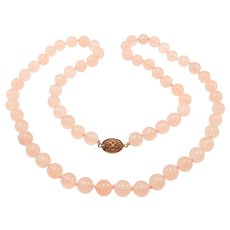 10mm Natural Rose Quartz Beads Necklace Hand Knotted Chinese Silver Clasp